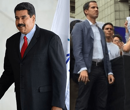 Nicolás Maduro (links) en Juan Guaidó (rechts) https://commons.wikimedia.org )